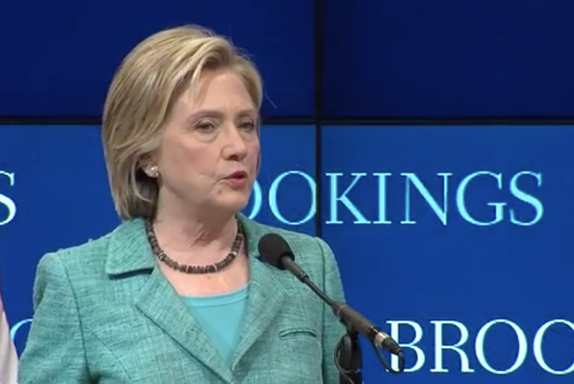 Former Secretary of State Hilary Clinton speaking on Sept. 9, 2015 at the Brookings Institution.