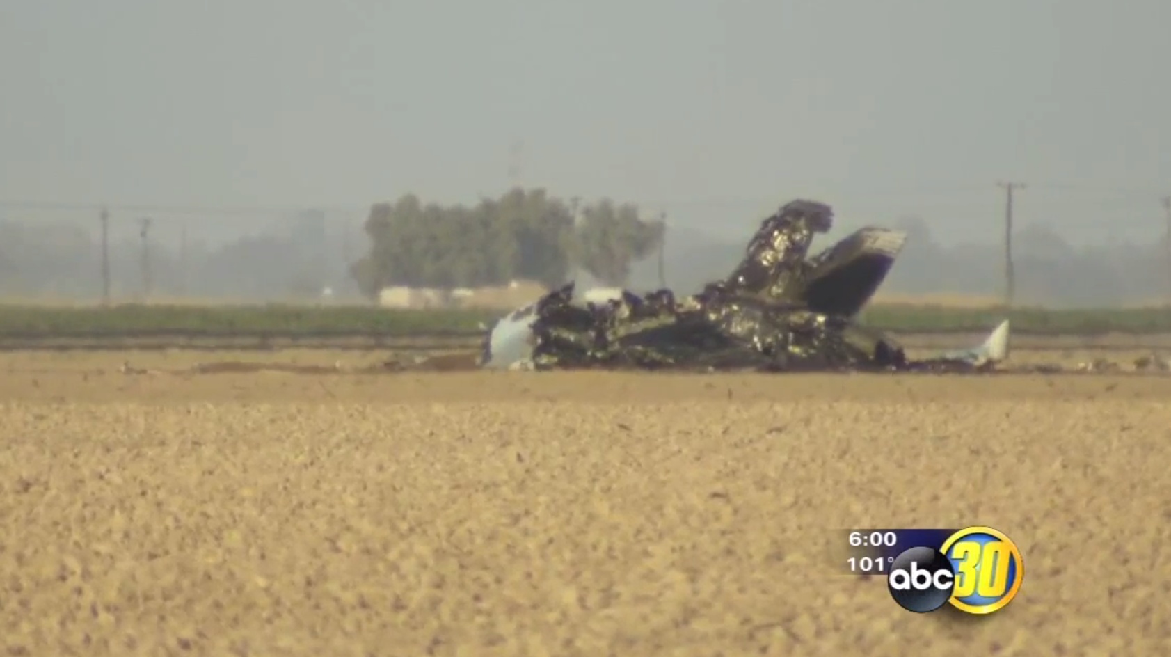 Image of the crashed Super Hornet via KFSN ABC 30