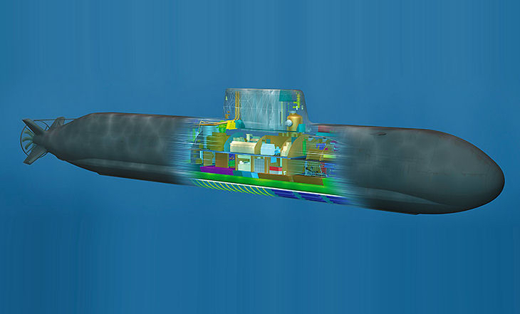 Germany's ThyssenKrupp Marine Systems proposed its HDW Class 216 submarine design for Australia's Collins-class replacement program. Image courtesy ThyssenKrupp Marine Systems.
