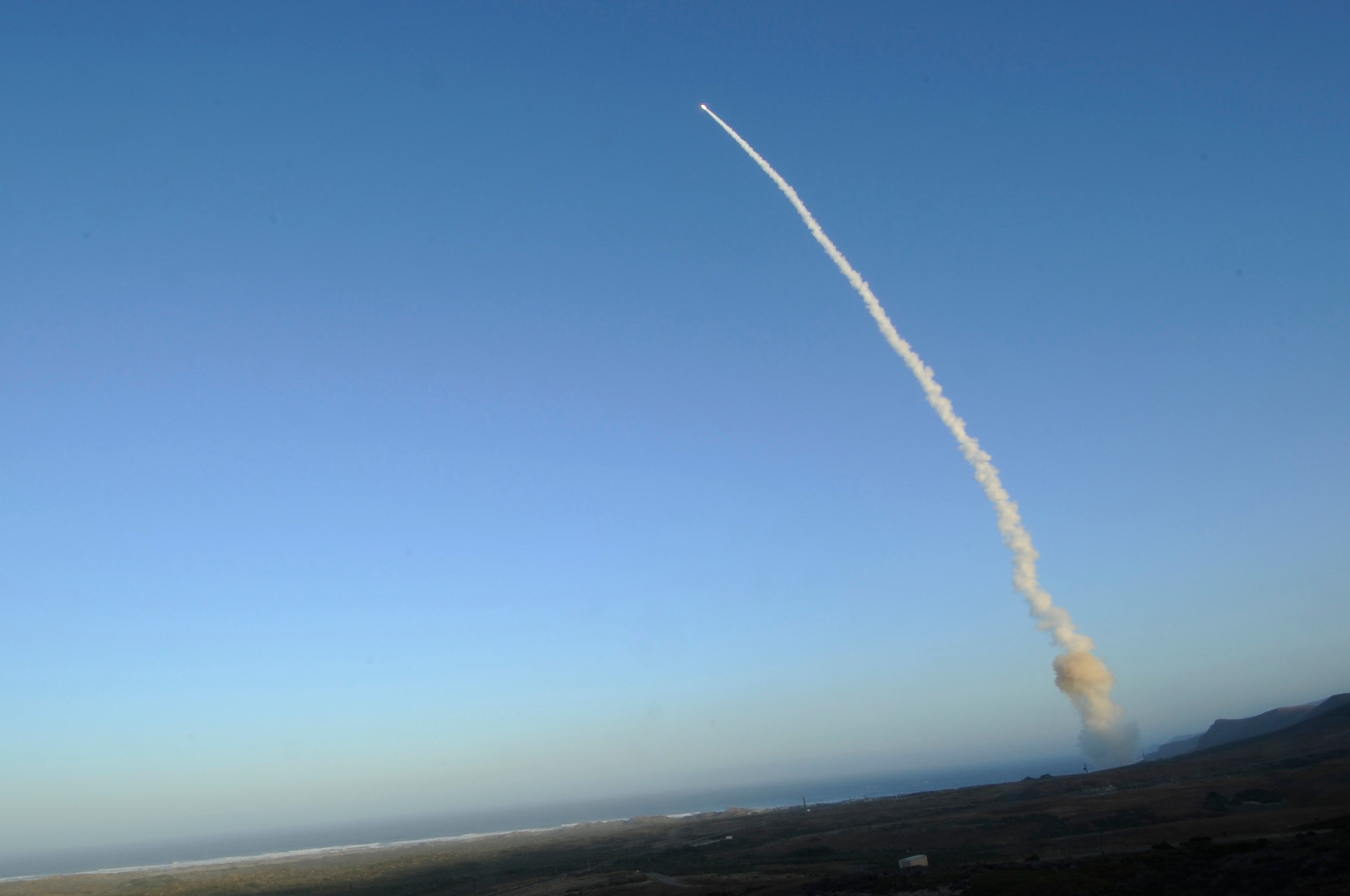 An unarmed Minuteman III intercontinental ballistic missile was launched during an operational test in 2013. US Air Force Photo