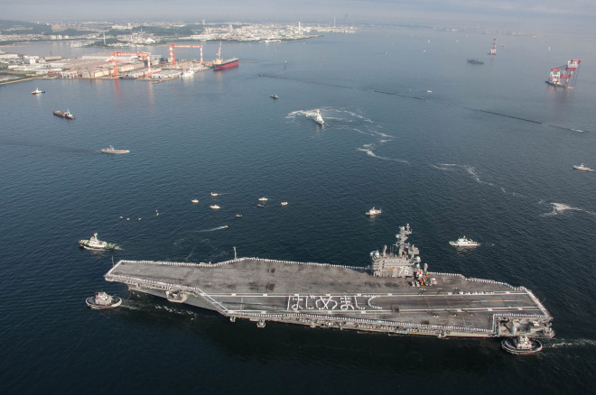 Carrier USS Ronald Reagan Arrives in Japan