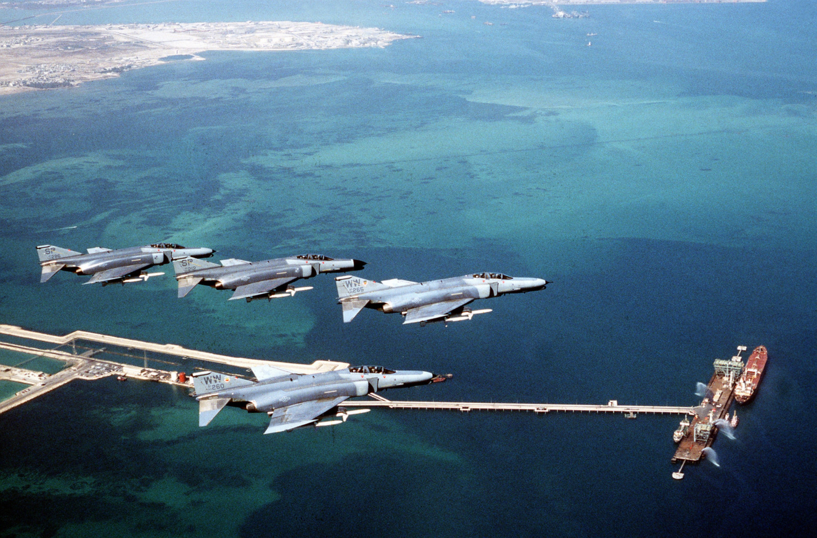 F-4Gs over Bahrain during Operation Desert Shield. US Air Force Photo