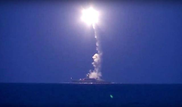 A launch of a Russian guided land attack cruise missile on Oct. 7, 2015 from the Caspian Sea. Russian Ministry of Defense Image