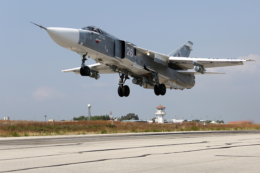 Russian Sukhoi Su-24 Fencer operating from the Latakia Air Base in Syria.
