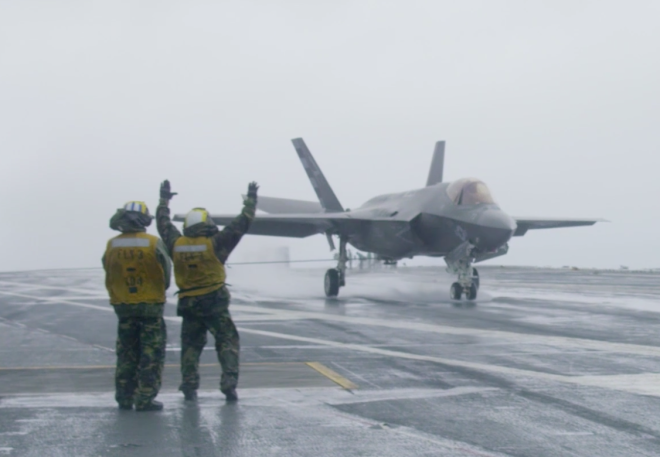 Video: F-35C Joint Strike Fighter Makes Rainy Day Landing on Carrier USS Dwight D. Eisenhower
