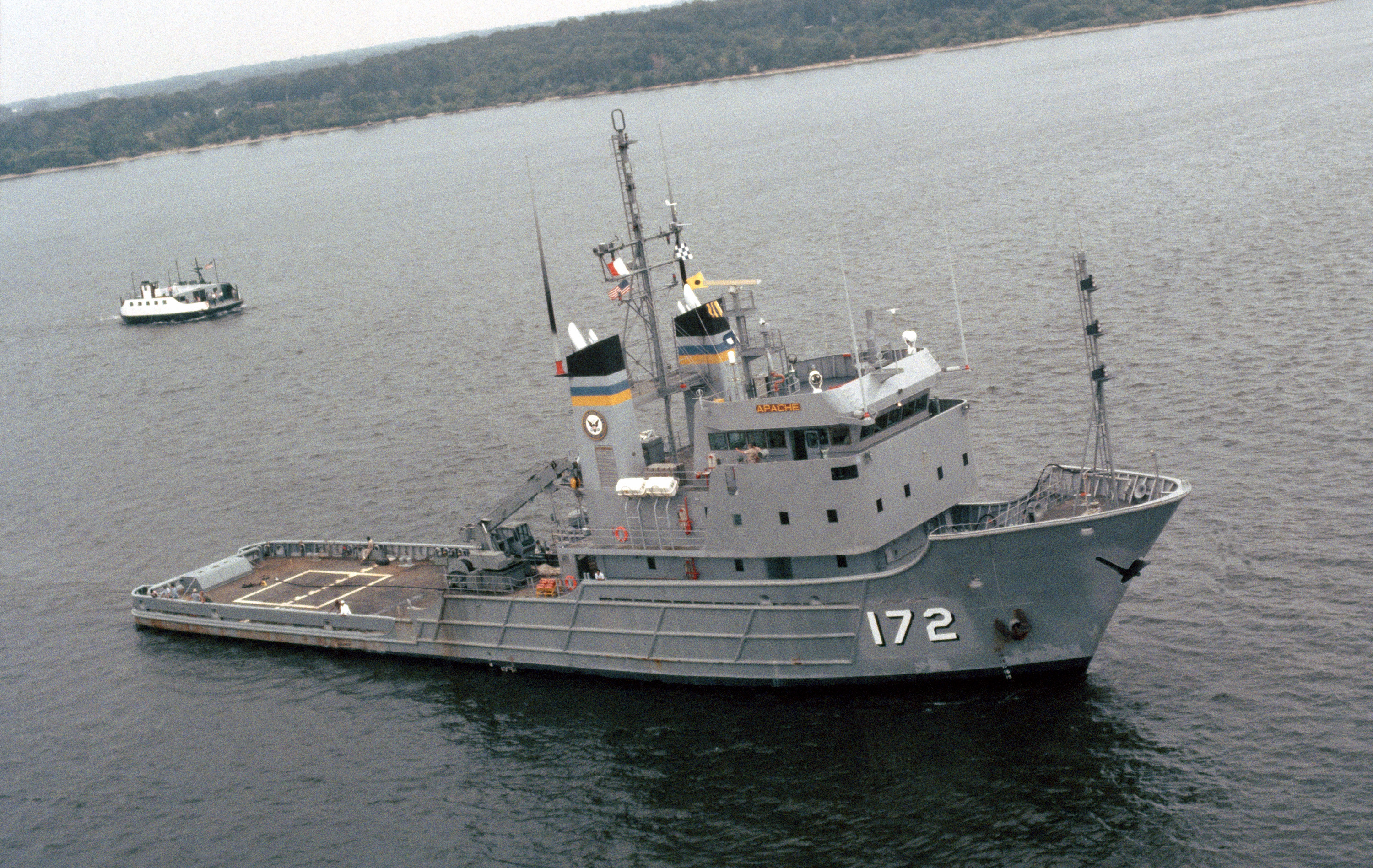 An undated photo of the Powhatan class fleet ocean tug USNS Apache (T-ATF-172). US Navy Photo