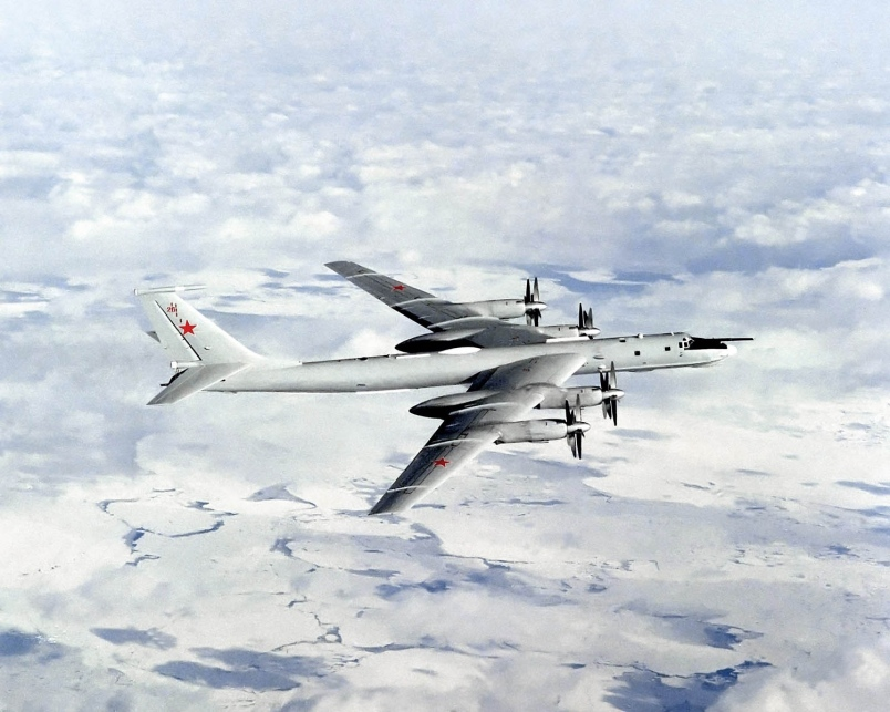 An undated picture of a Tupelov Tu-142 Bear F/J maritime surveillance aircraft. Two similar aircraft came within a mile of carrier USS Ronald Reagan (CVN-76).