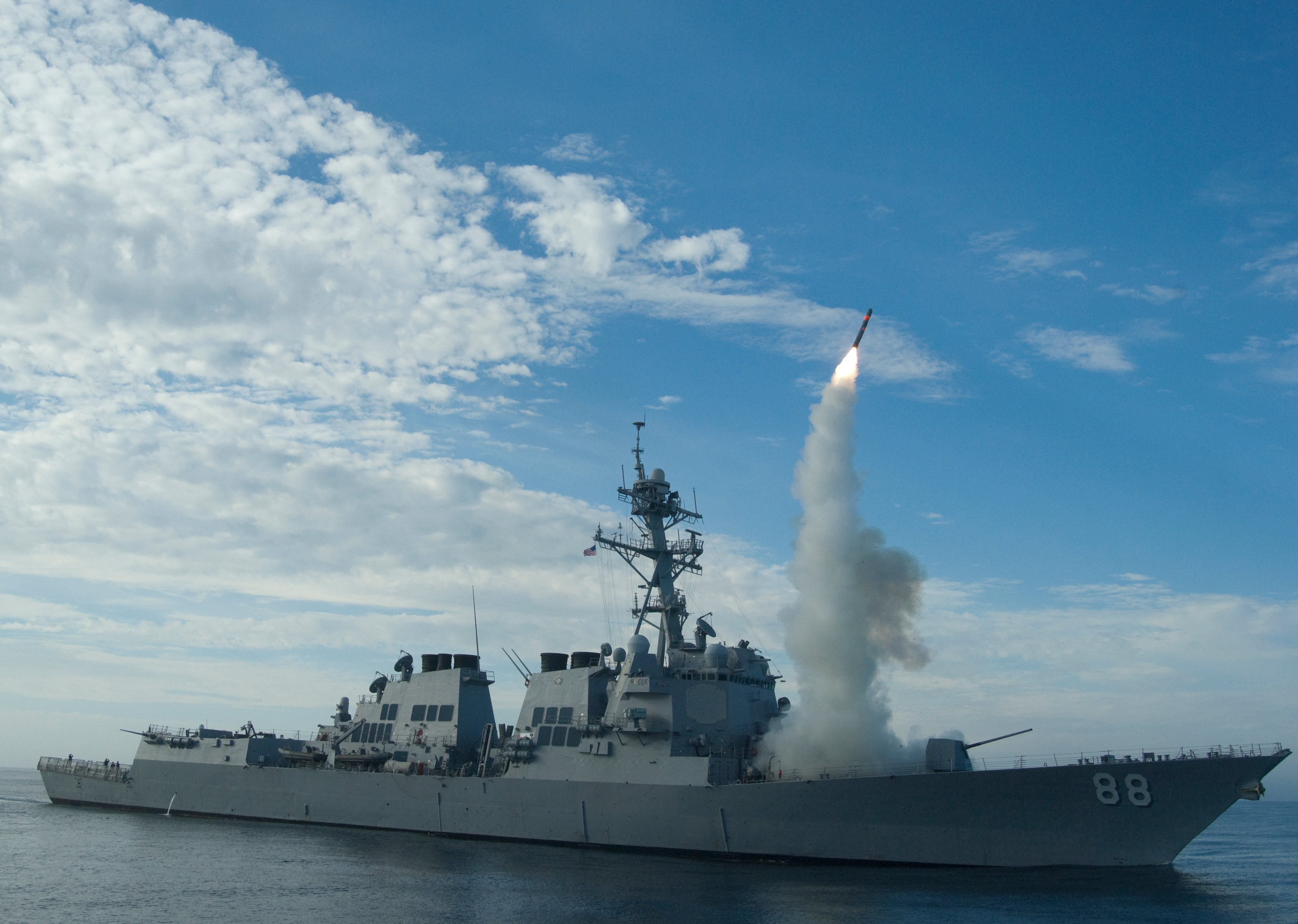 USS Preble (DDG-88) conduct an operational tomahawk missile launch while underway in a training area off the coast of California in 2010. US Navy Photo