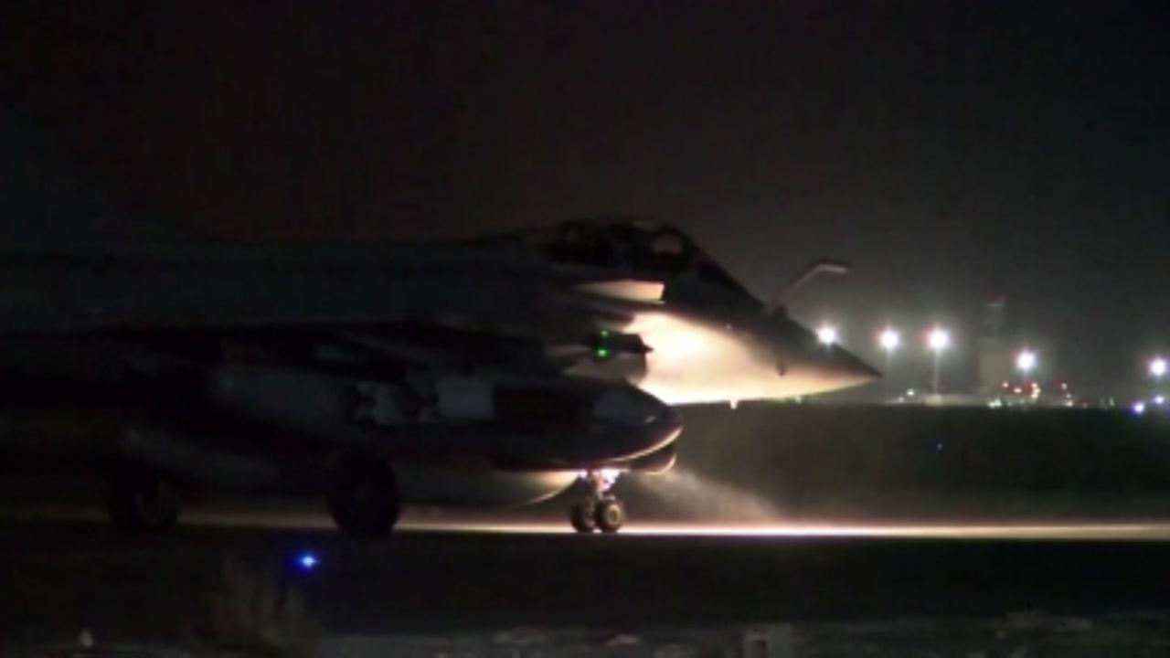 French fighters leave for strikes against ISIS targets in Syria on Nov. 15, 2015. French Ministry of Defense Photo