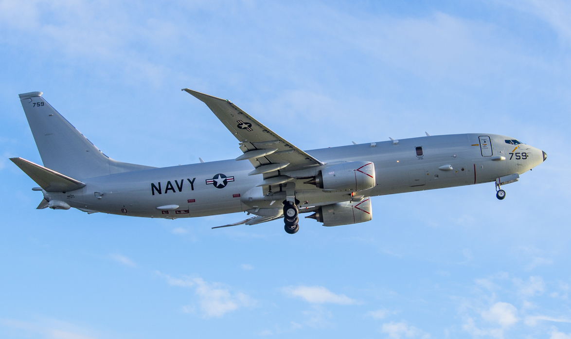 A P-8A Poseidon aircraft departs Boeing Field in Seattle for Naval Air Station Jacksonville, Fla. on Nov. 20, 2014. US Navy Photo