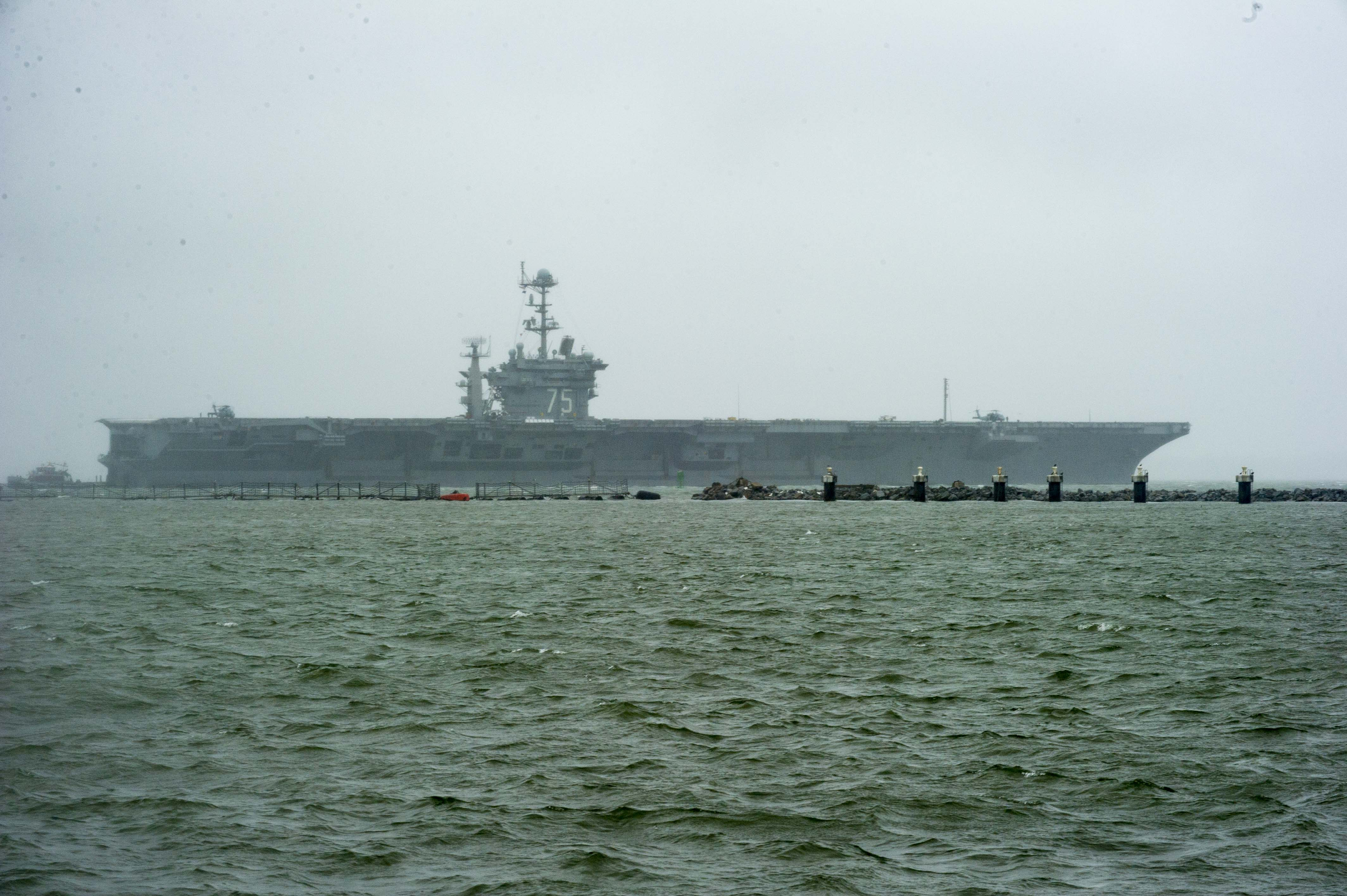 USS Harry S. Truman (CVN-75) gets underway in preparation for Hurricane Joaquin on Oct. 1, 2015. US Navy Photo