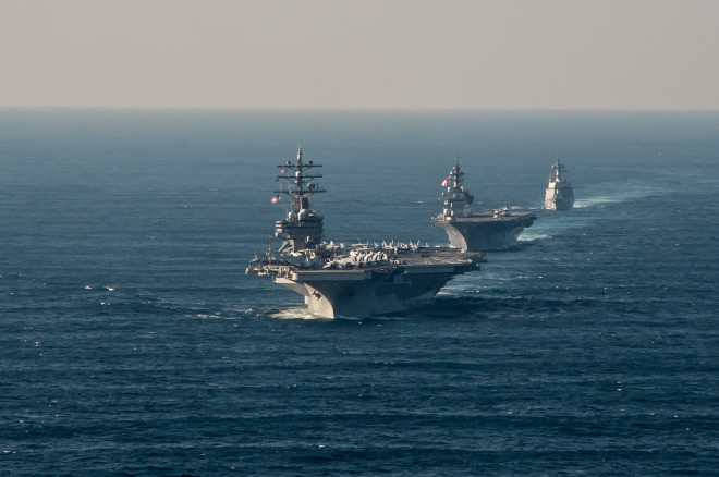 Video: Carrier USS Ronald Reagan Underway with Japanese Ships