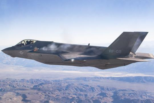 "F-35 test pilot Maj Charles ""Flak"" Trickey fired the GAU-22/A 25mm gun from F-35A aircraft AF-2 in the first aerial gun test operating on the China Lake, California, test range, Oct. 30, 2015. US Air Force photo."
