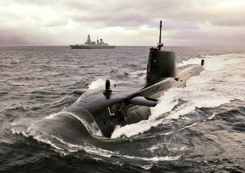 Type 45 (Daring-class) destroyer, HMS Dauntless, with Astute-class nuclear attack submarine, HMS Astute in 2010. UK Royal Navy Photo