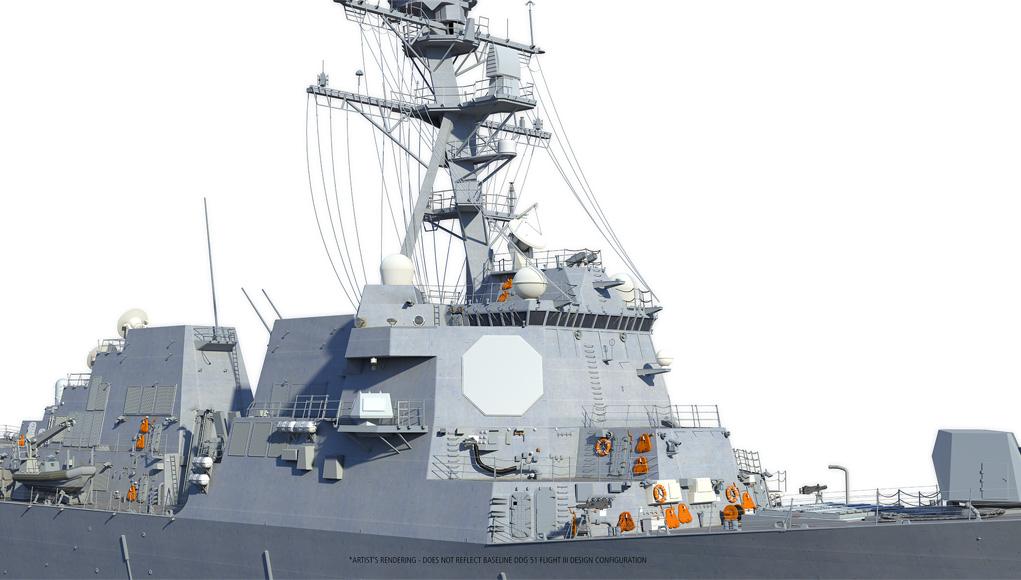An artist's conception of a Raytheon's SPY-6 radar on a Flight III Arleigh Burke destroyer . Raytheon Image