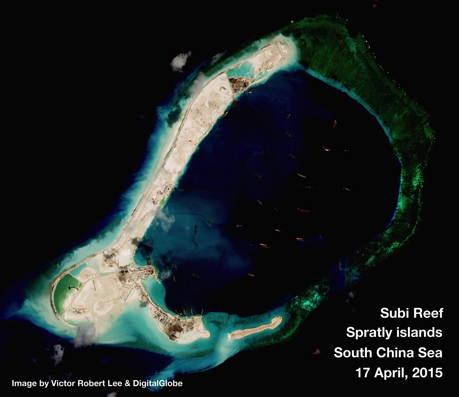 Chinese Subi Reef facilities in April 2015. Digital Globe Photo via The Diplomat