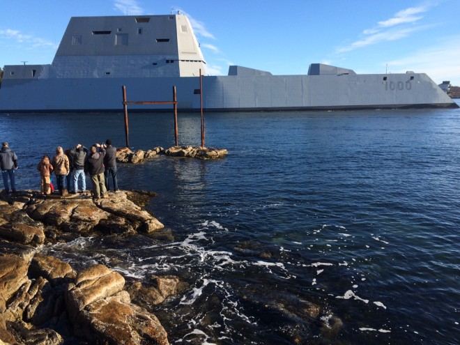 Zumwalt Destroyer Leaves Bath Iron Works for Builder's Trials