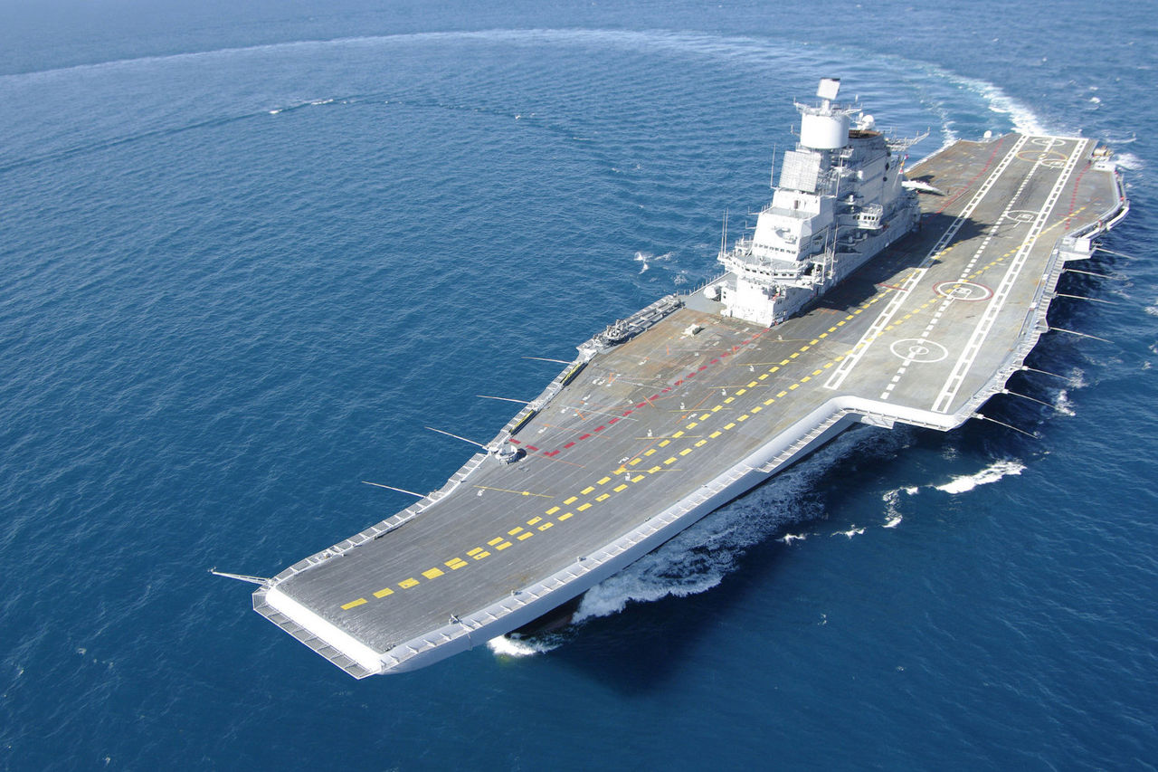 Russian-built INS Vikramaditya during sea trials. Indian Navy Photo