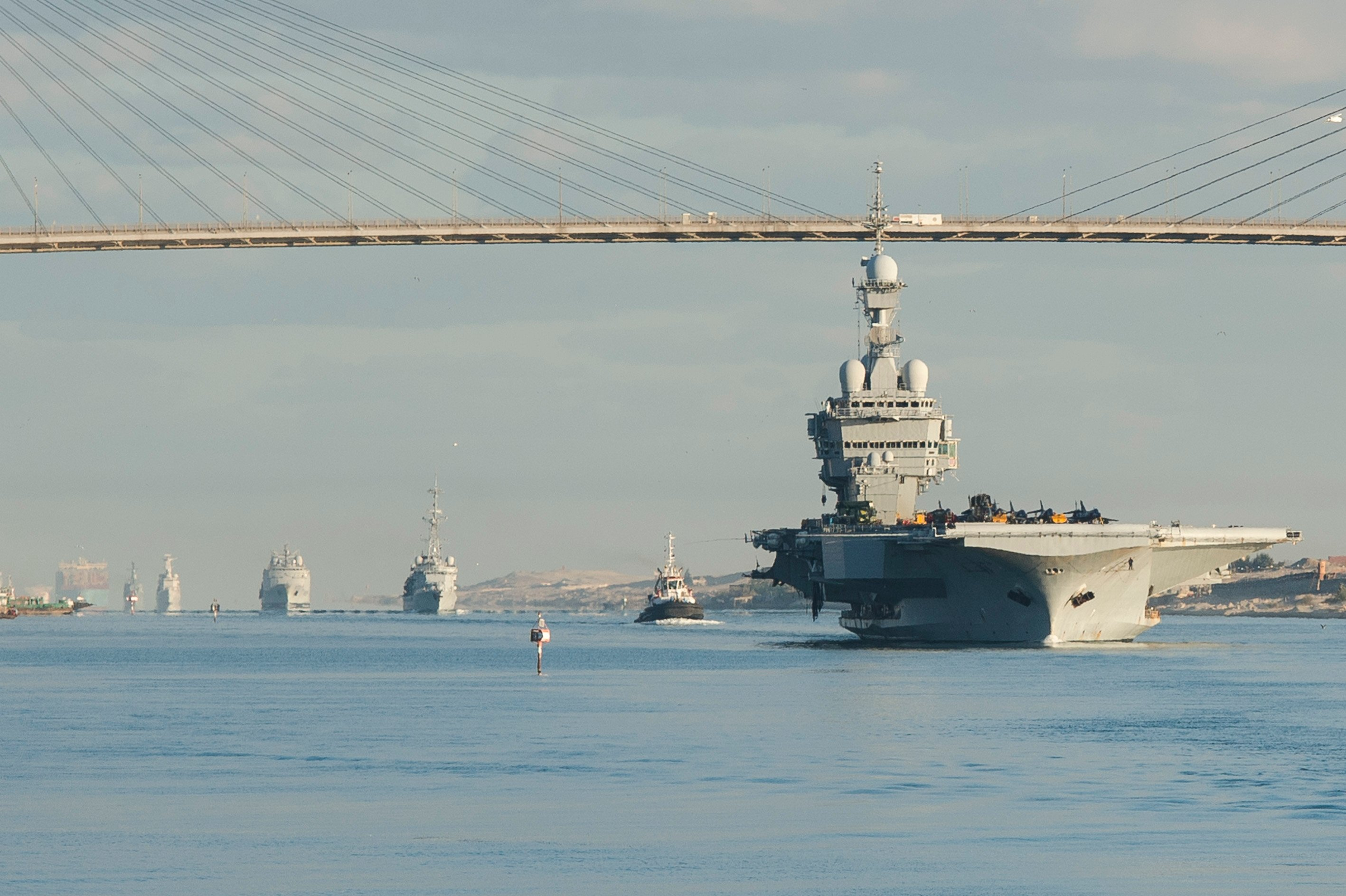 The French navy nuclear aircraft carrier Charles de Gaulle (R91) transits the Suez Canal on Dec. 7, 2015, as it enters the U.S. 5th Fleet area of operations. French Navy photo.