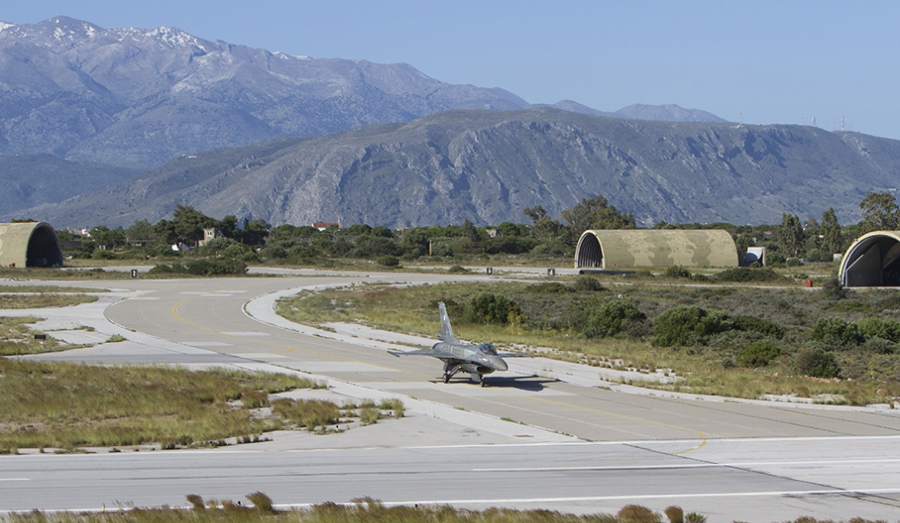 A Hellenic Air Force F-16C of 343 Mira taxis out at Chania AB. US Air Force Photo