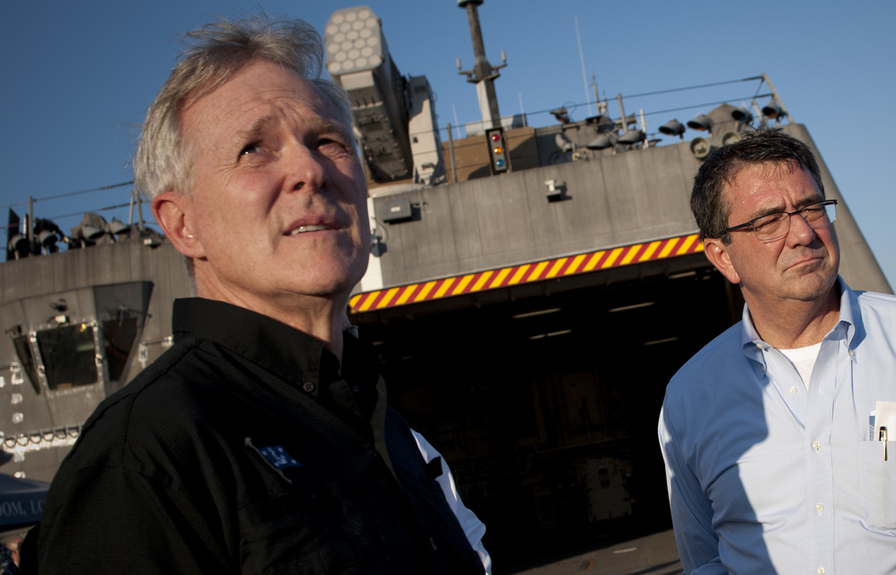 Ash Carter and Ray Mabus on the flight deck of USS Freedom (LCS-1) in 2012. DoD Photo