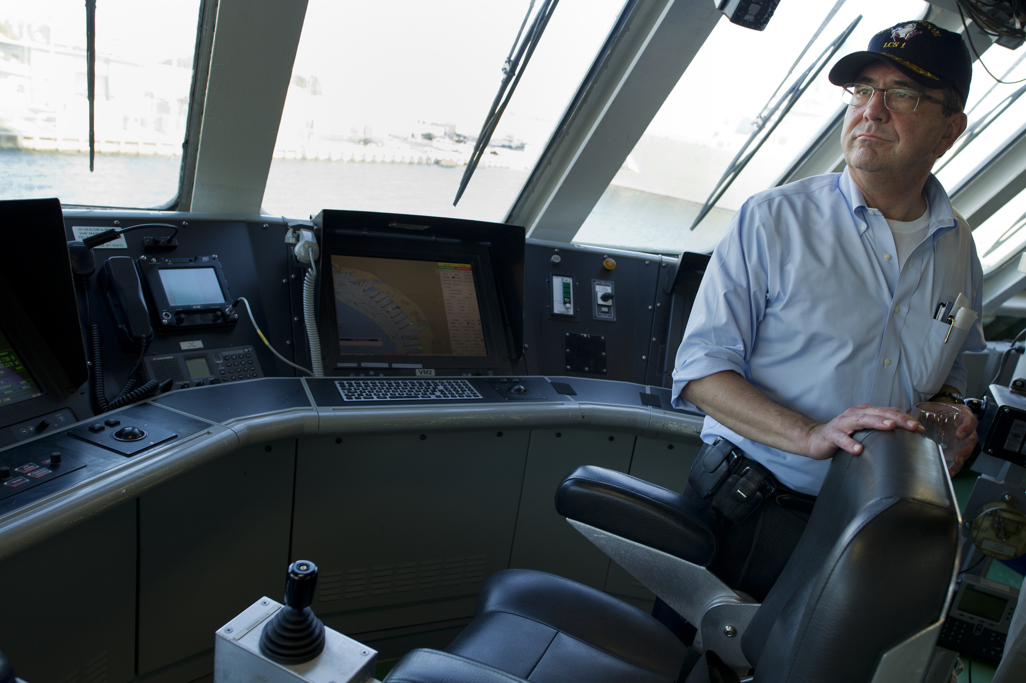 Then-Deputy Defense Secretary Ash Carter tours the bridge of the USS Freedom during a visit to the ship in San Diego in 2012. DoD Photo