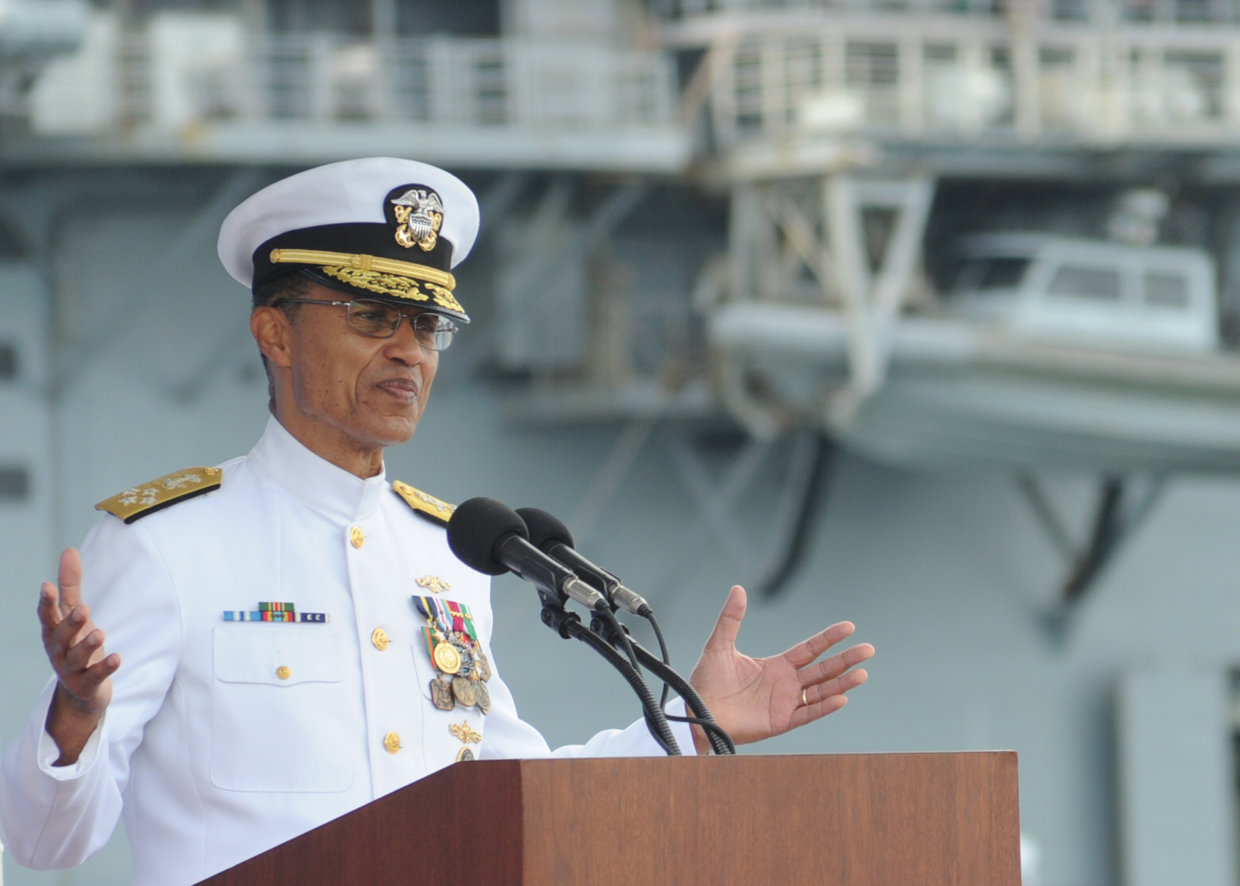 Adm. Cecil D. Haney, commander of U.S. Strategic Command, delivers remarks as guest speaker during a change of command ceremony for Commander, Submarine Forces aboard the attack submarine USS Newport News (SSN-750) on Sept. 11, 2015. US Navy Photo