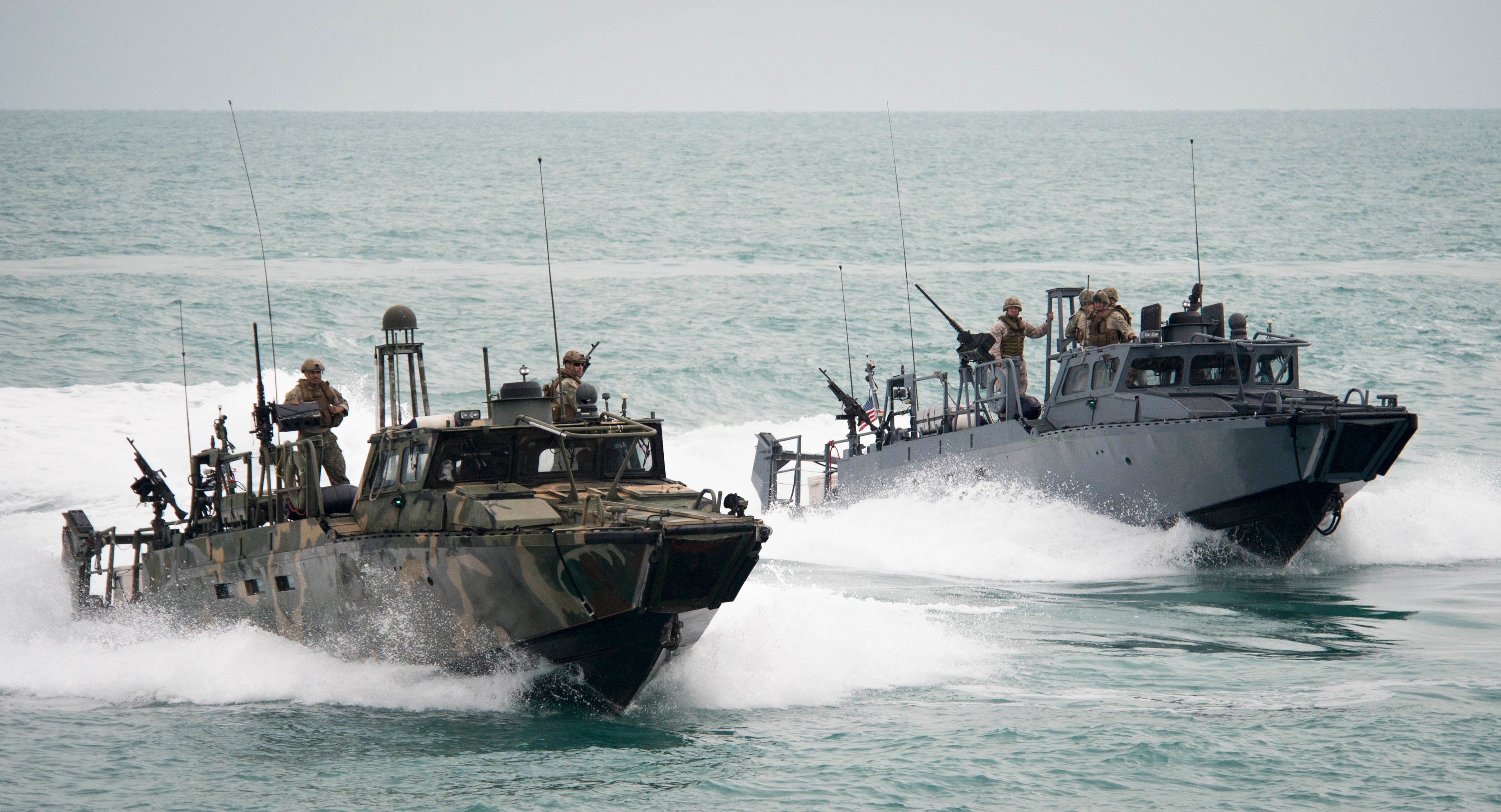 Riverine Command Boats (RCB) 802 and 805 participate in a bi-lateral exercise with Kuwait naval forces in the Persian Gulf in 2015. US Navy Photo