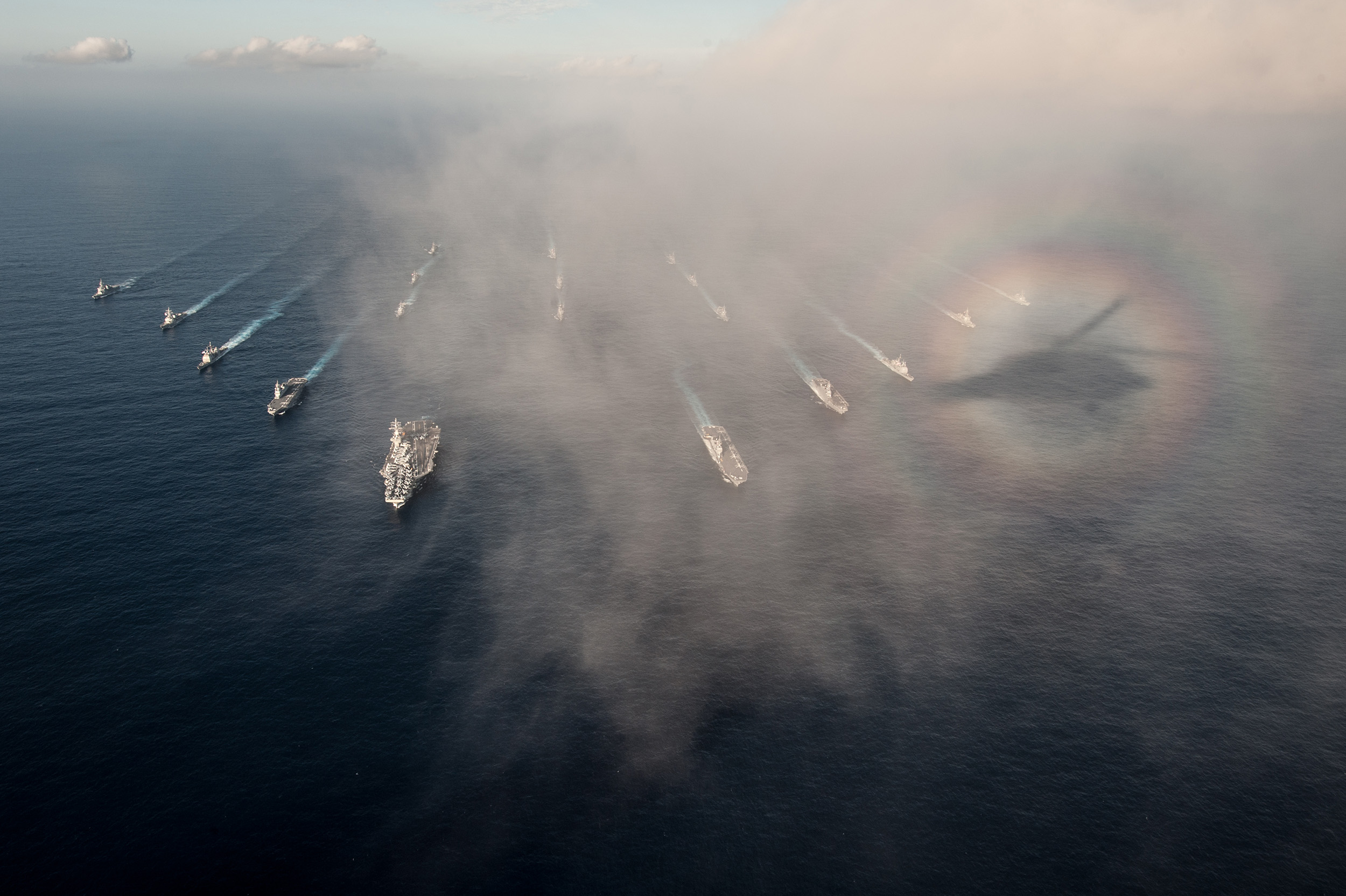 151123-N-OI810-519 WATERS SOUTH OF JAPAN (Nov. 23, 2015) The Ronald Reagan Carrier Strike Group (CSG) is underway in formation with Japan Maritime Self-Defense Force ships for a photo exercise during Annual Exercise 16. The Ronald Reagan CSG is participating in Annual Exercise 16 to increase interoperability between Japanese and American forces through training in air and sea operations. (U.S. Navy photo by Mass Communication Specialist 3rd Class Nathan Burke/Released)