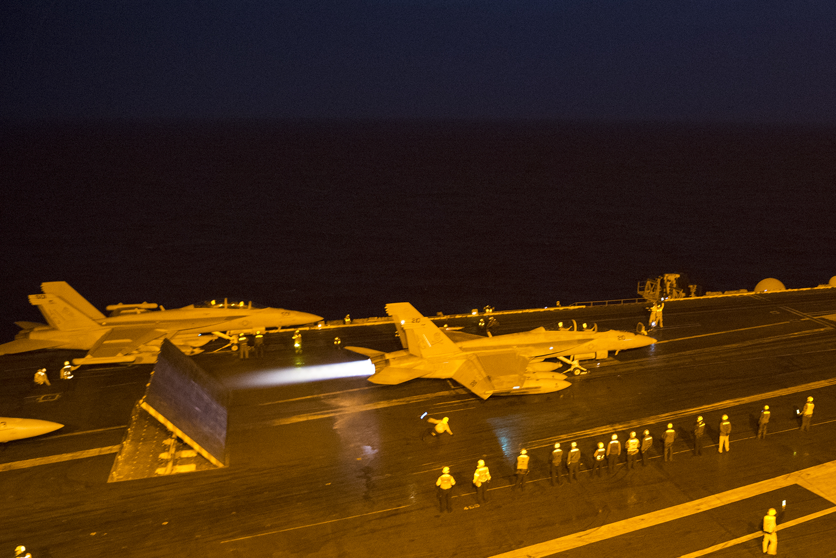 An F/A-18F Super Hornet launches from the flight deck of aircraft carrier USS Harry S. Truman (CVN 75) on Jan. 2, 2016. The Navy said operations in the Middle East have continued unimpeded despite diplomatic tensions between Iran and Saudi Arabia, Bahrain, UAE and Sudan. US Navy photo.