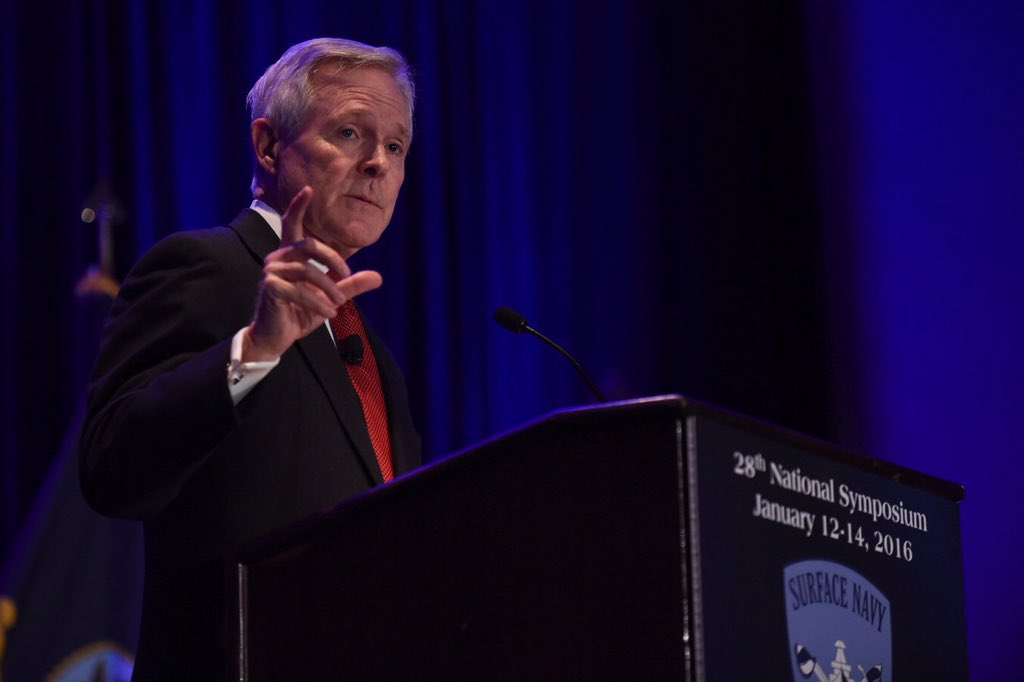 Secretary of the Navy Ray Mabus on Jan. 14, 2016 addressing the Surface Navy Association symposium. US Navy Photo