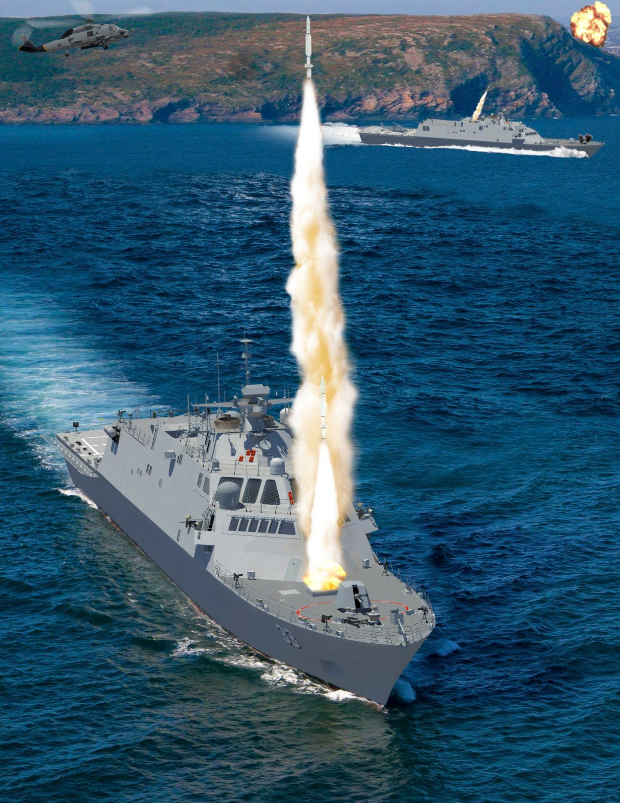 An artist's conception for variants of the Freedom-class LCS design provided to USNI News. Lockheed Martin Image