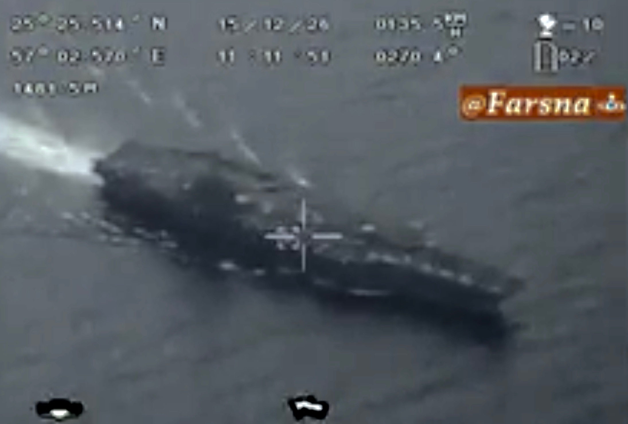 Screen shot of an Iranian video claiming to be spy footage of USS Harry S. Truman from an Iranian UAV.