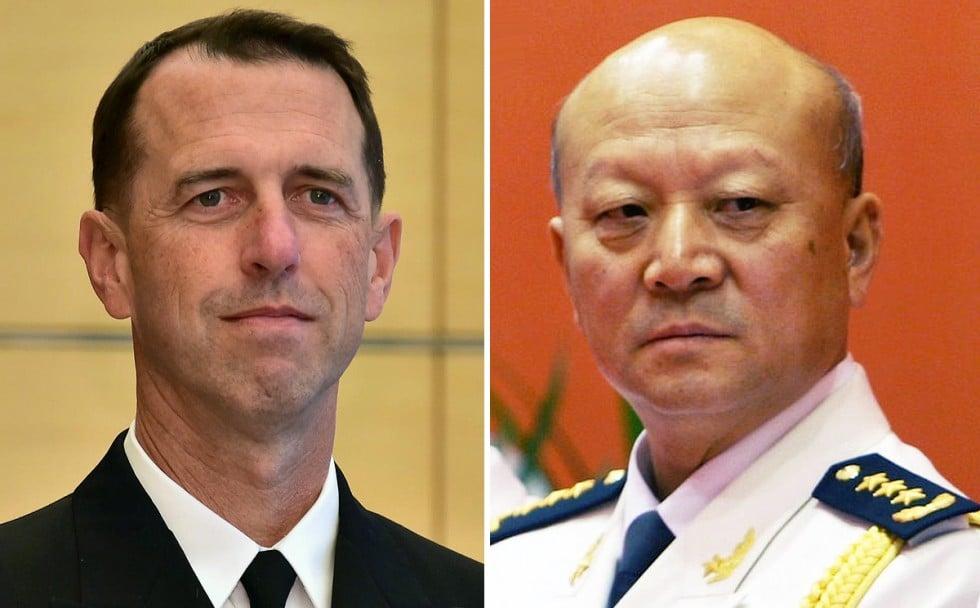 Chief of Naval Operations Adm. John Richardson and People's Liberations Army Navy head Adm. Wu Shegli.