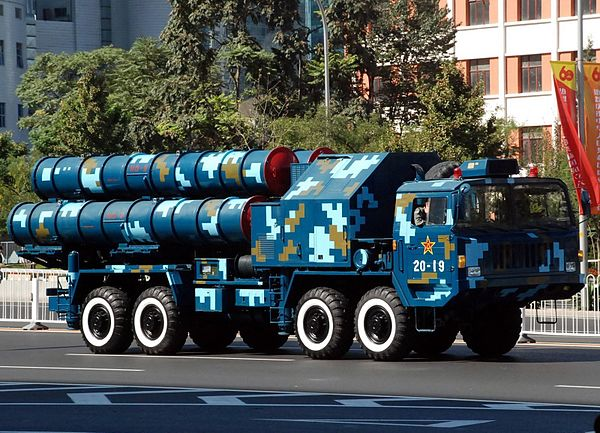 A Chinese HQ-9 missile launcher painted in the livery of the People's Liberation Army Navy (PLAN). PLAN Photo