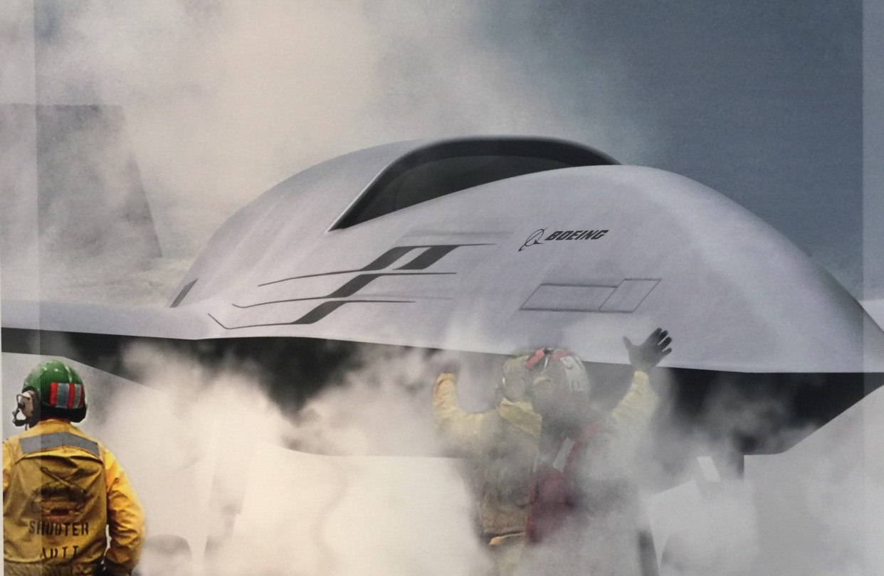 An artist's conception of Boeing's UCLASS offering taken as part of the company's display at the U.S. Navy League 2015 Sea Air Space Exposition. US Naval Institute Photo