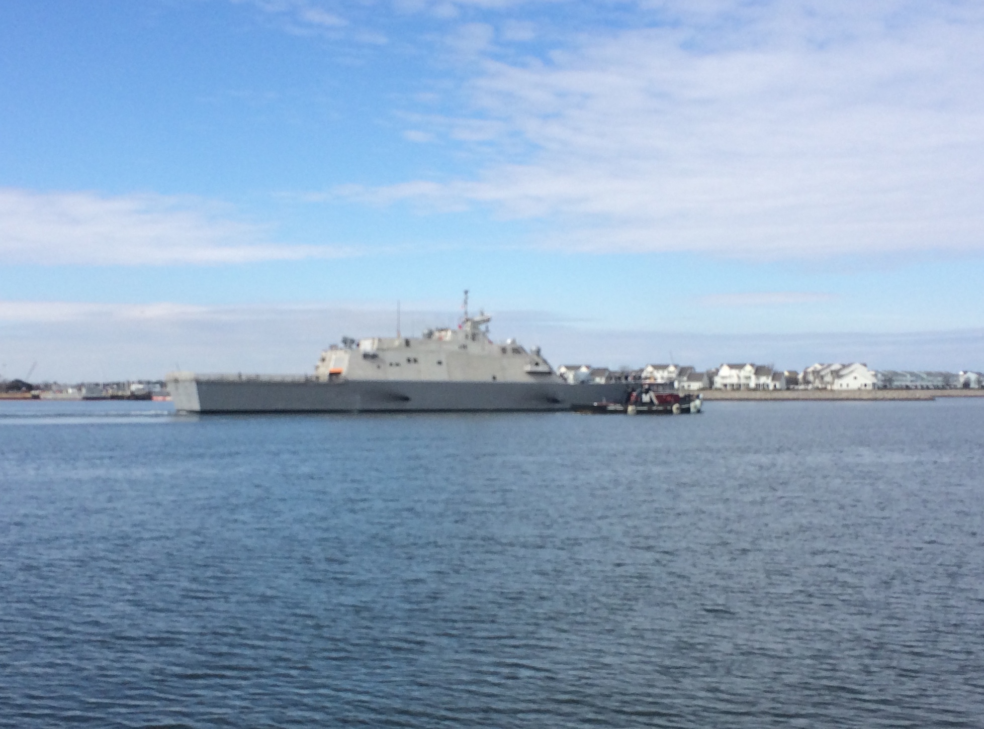 Amateur photo of USS Milwaukee (LCS-5) leaving Joint Base Little Creek - Fort Story on Feb. 17, 2016. USNI News Photo courtesy of the photographer
