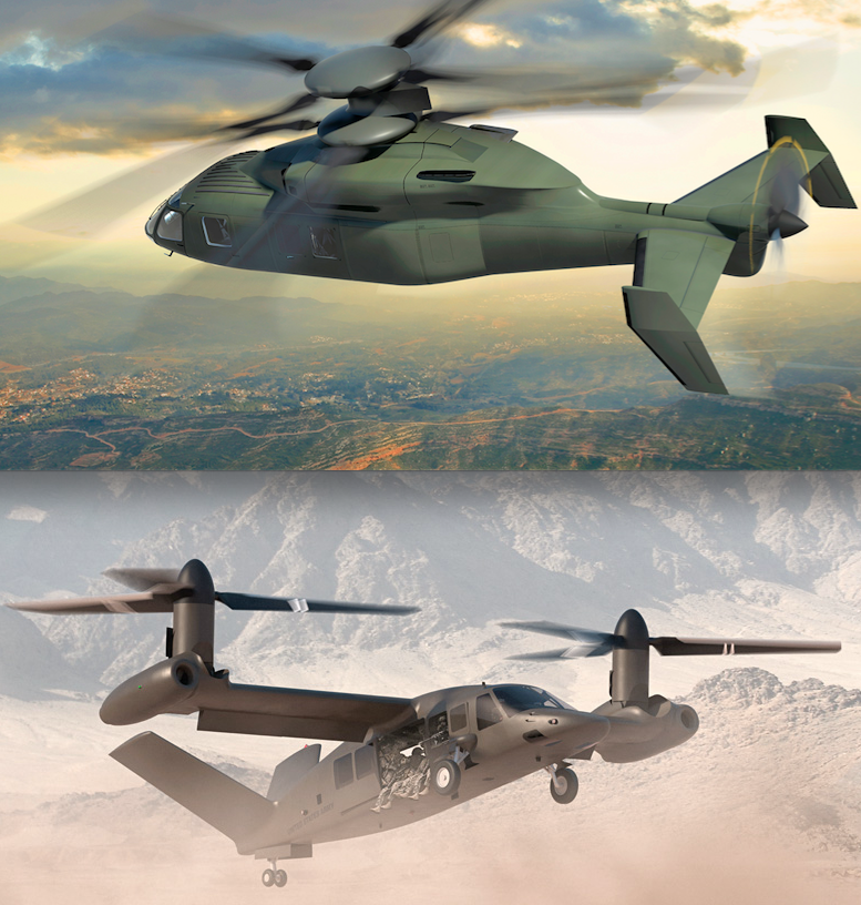 Artist's concepts of the Sikorsky-Boeing SB-1 Defiant (above) and the Bell-Lockheed Martin V280 Valor.