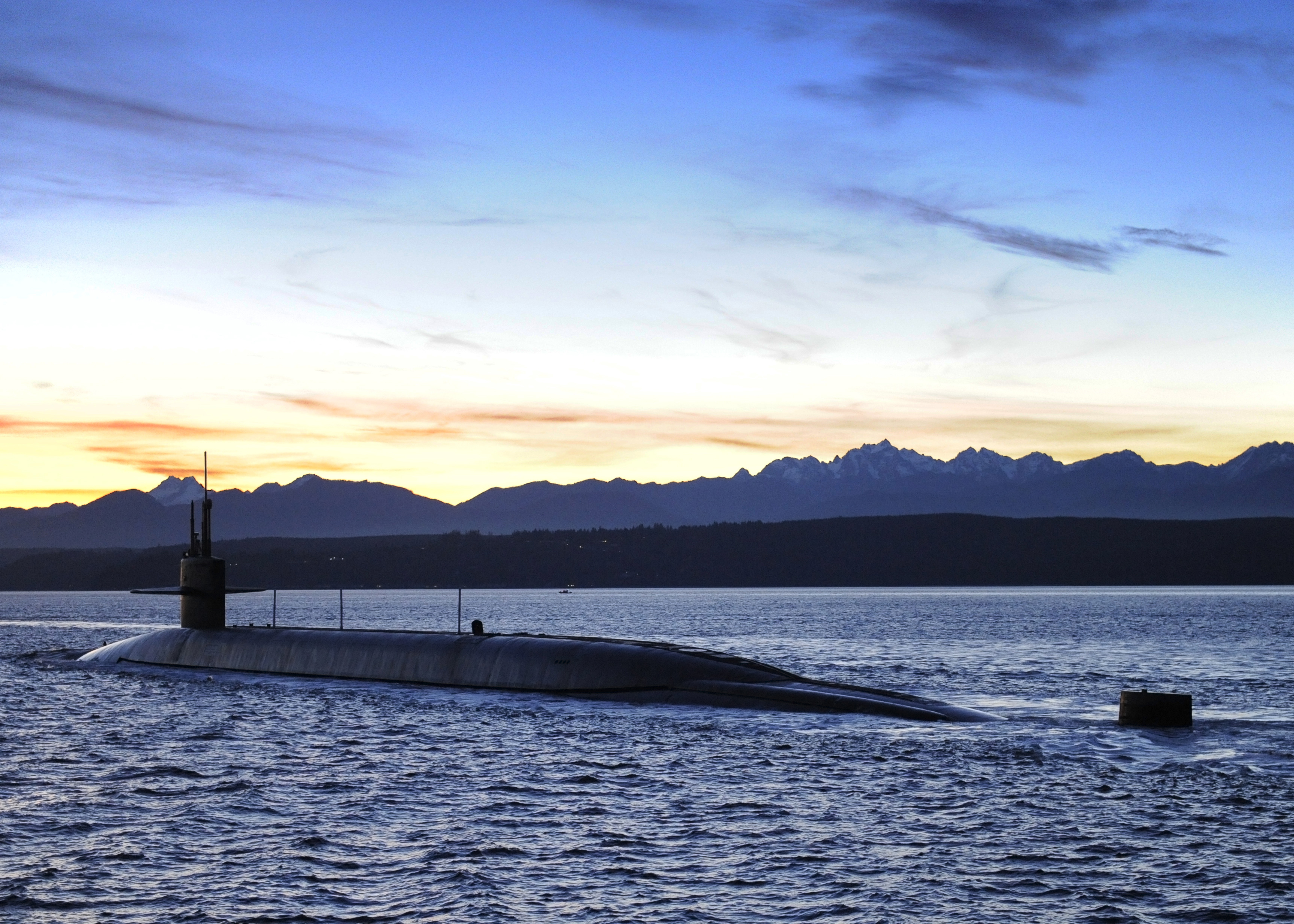 USS Nevada (SSBN-733) transits the Washington state Puget Sound on its way to Naval Base Kitsap-Bangor on Jan. 14, 2016. US Navy Photo