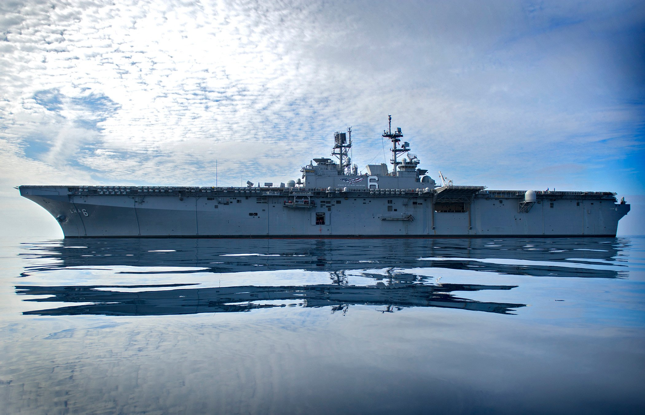 USS America (LHA-6) is underway off the coast of San Diego in 2015. US Navy Photo