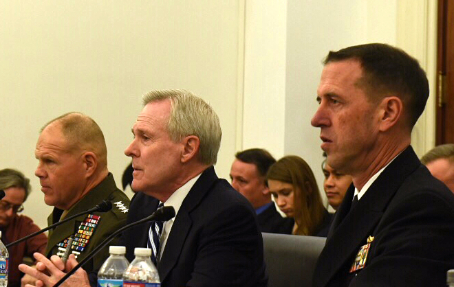 Secretary of the Navy (SECNAV) Ray Mabus, Chief of Naval Operations (CNO) Adm. John Richardson and Commandant of the Marine Corps (CMC) Gen. Robert Neller testify on March 1, 2016. US Navy Photo