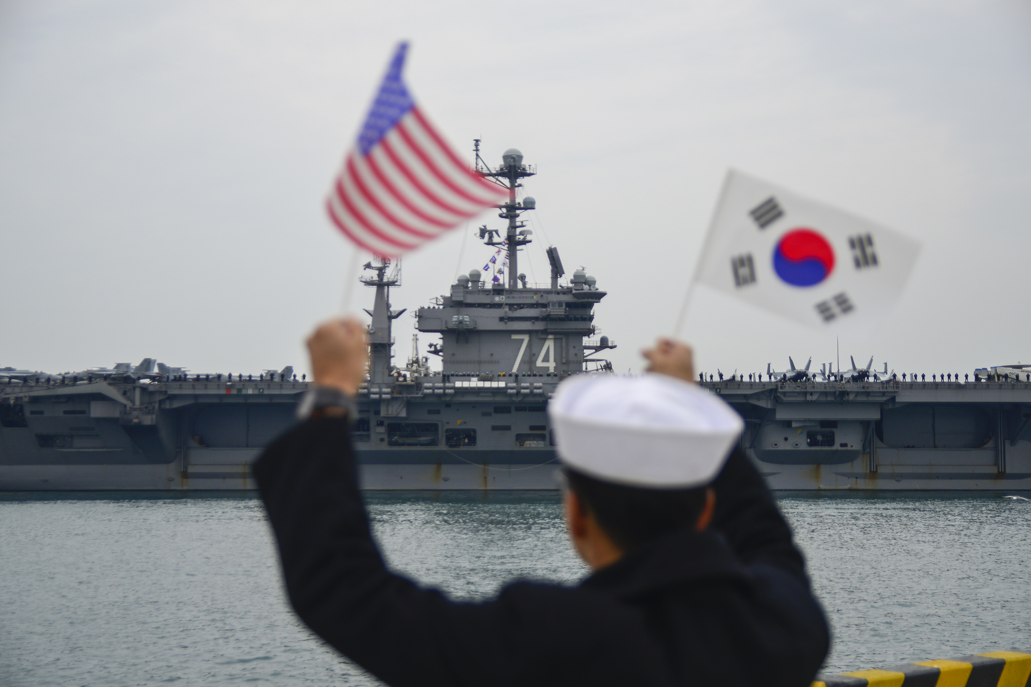 USS John C. Stennis (CVN-74) arrives at Commander, Republic of Korea Fleet base in Busan, the new home on March 12, 2016. US Navy Photo