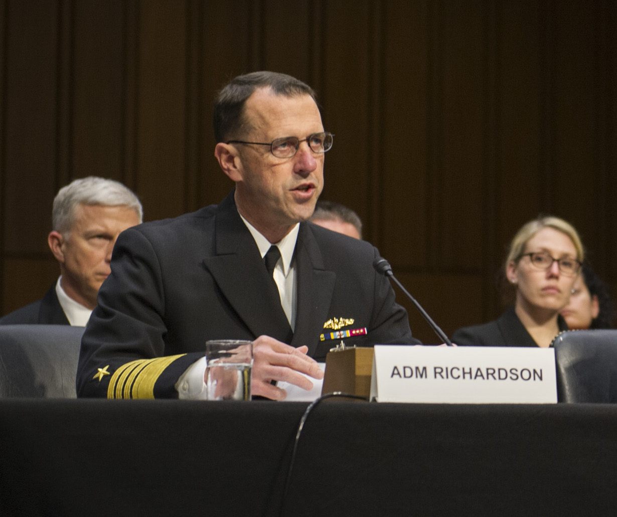 Chief of Naval Operations (CNO) Adm. John Richardson testifies before the Senate Armed Services Committee on March 15, 2016. US Navy Photo