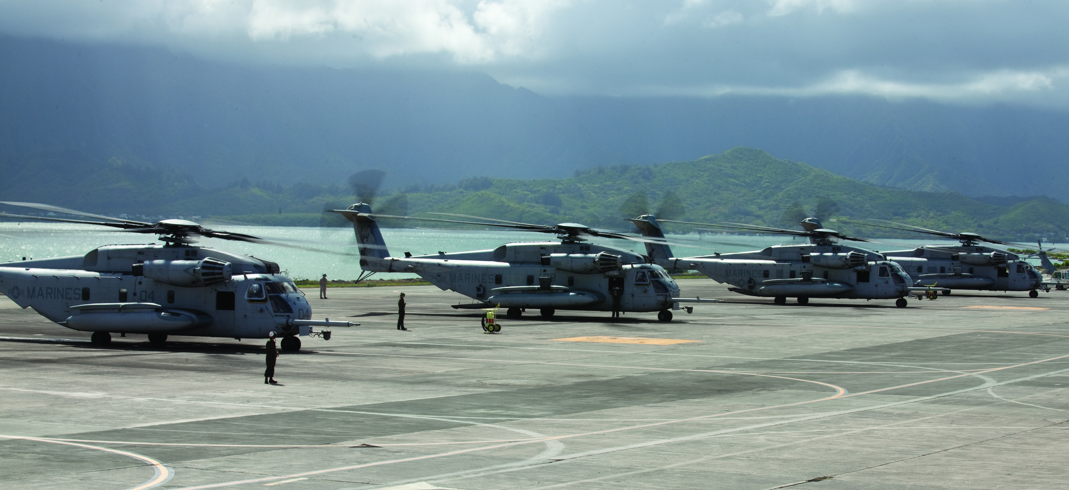 Marines and sailors with Marine Heavy Helicopter Squadron 463 and Marine Light Attack Helicopter Squadron 367 challenged each other to a competition when they launched seven CH-53E Super Stallions, five AH1 Cobras and one UH1 Huey helicopters. US Marine Corps