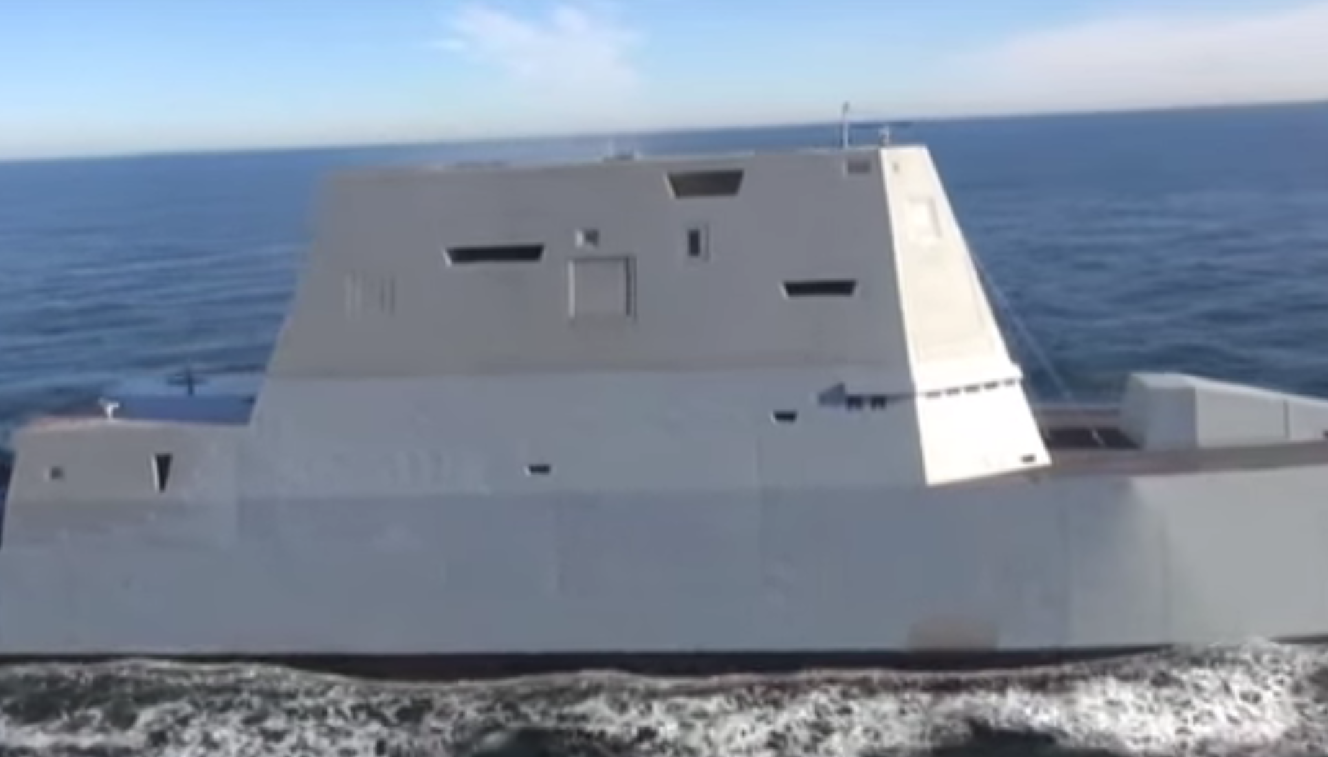 The starboard view Zumwalt DDG-1000 from a Dec. 7, 2016 underway. US Navy Image
