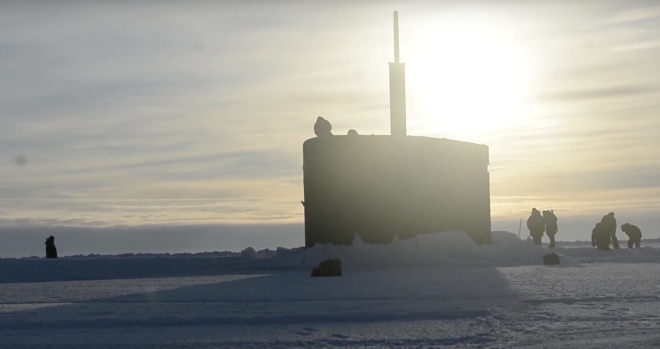 Video: Watch USS Hartford Surface Through Arctic Ice Pack