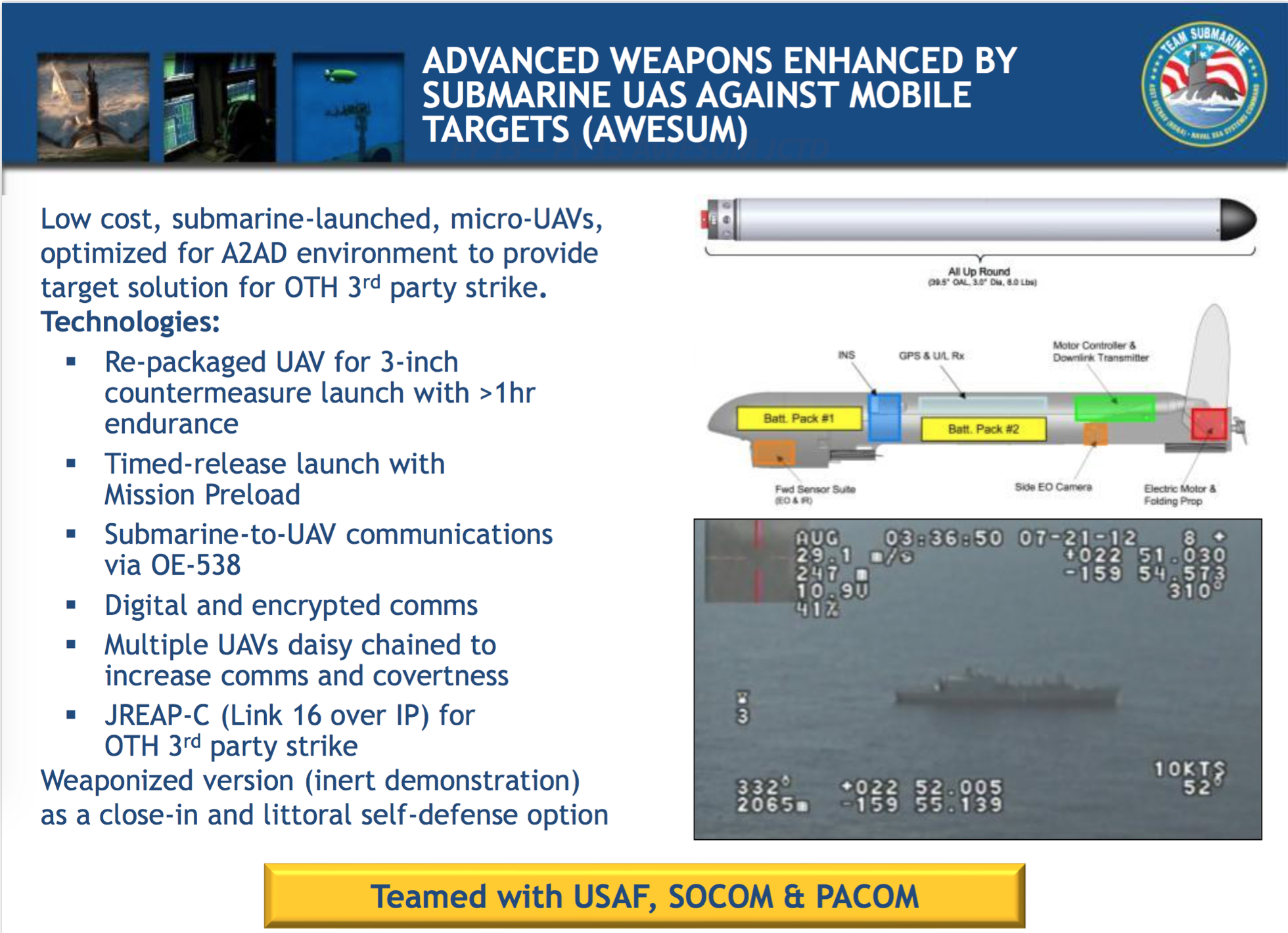 2013 PEO Subs Slide on AWESUM Program. NAVSEA Image