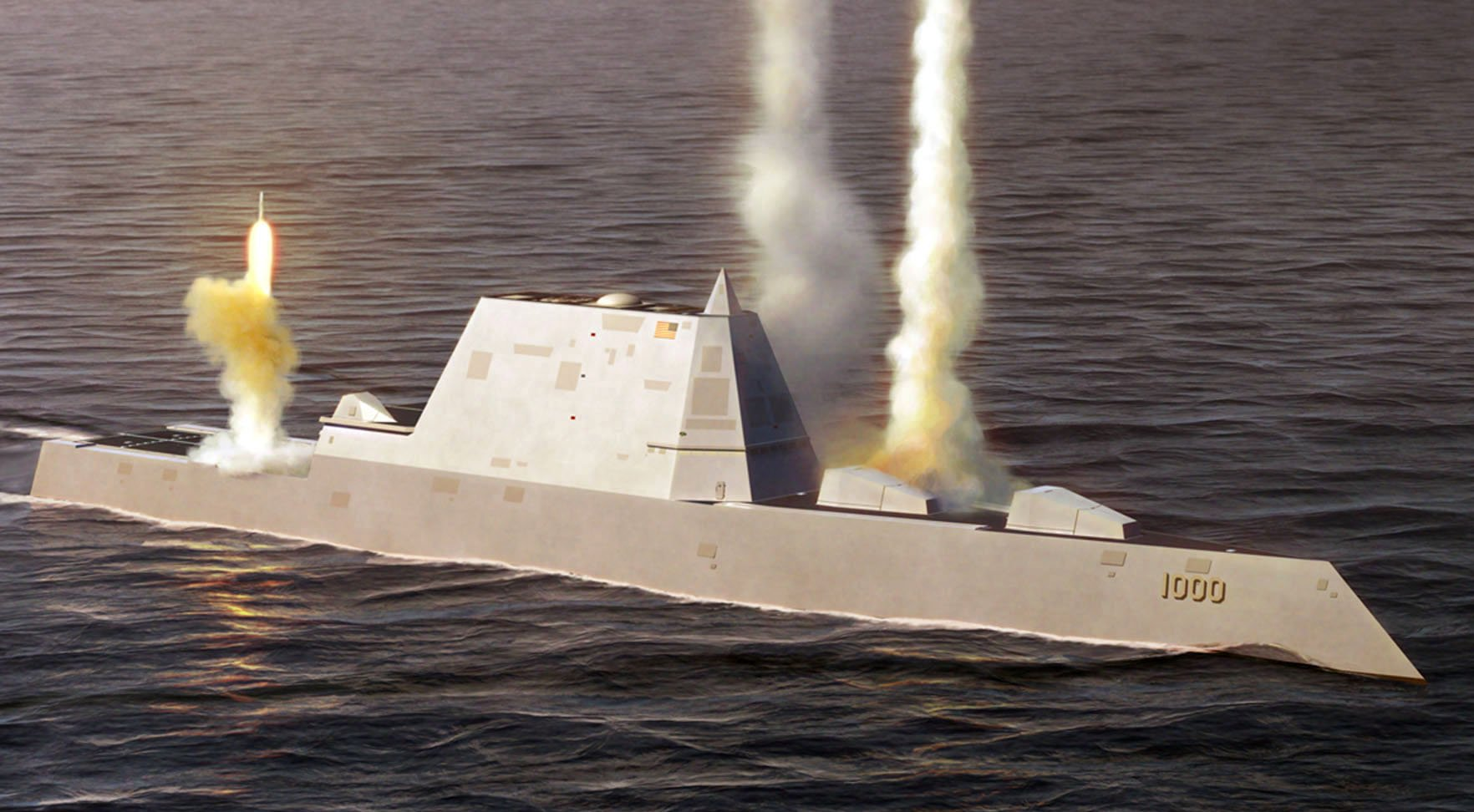 An artists rendering of Zumwalt's original design prior to the Nunn-McCurdy restructure showing the original sensor configuration on the deckhouse.