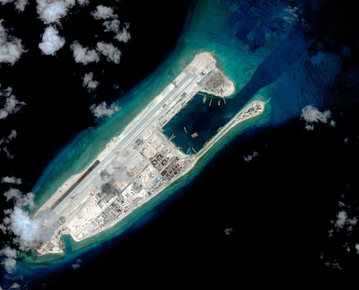 Fiery Cross Reef In September 2015 Csis Asia Maritime Transparency Initiative Digitalglobe Photo