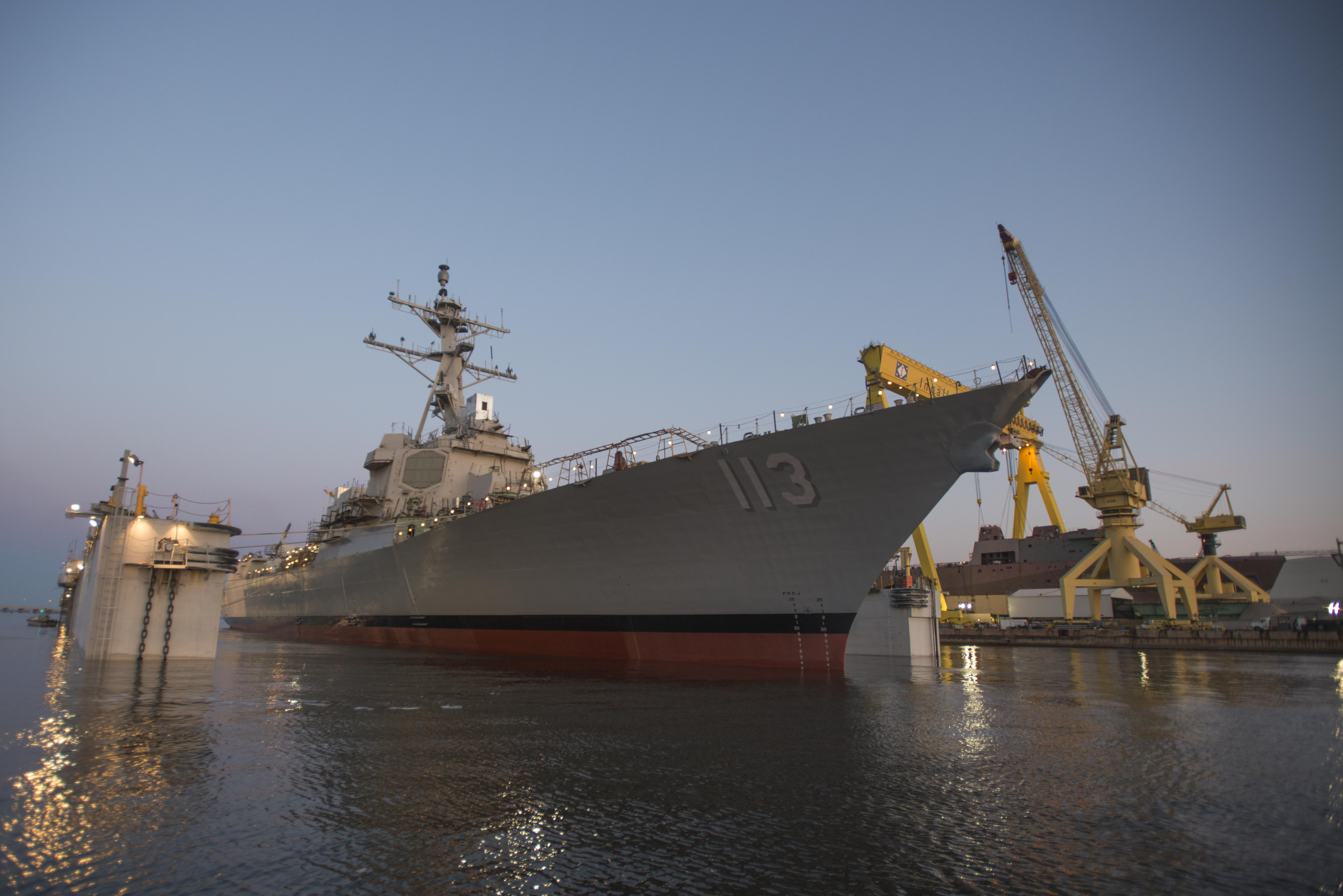 Ingalls Shipbuilding launched the Arleigh Burke-class Aegis guided missile destroyer John Finn (DDG 113) on March 28, 2015. Huntington Ingalls Industries photo.